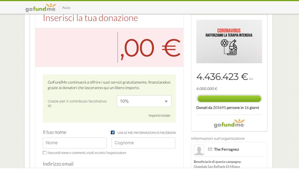 gofundme ferragnez coronavirus donazioni
