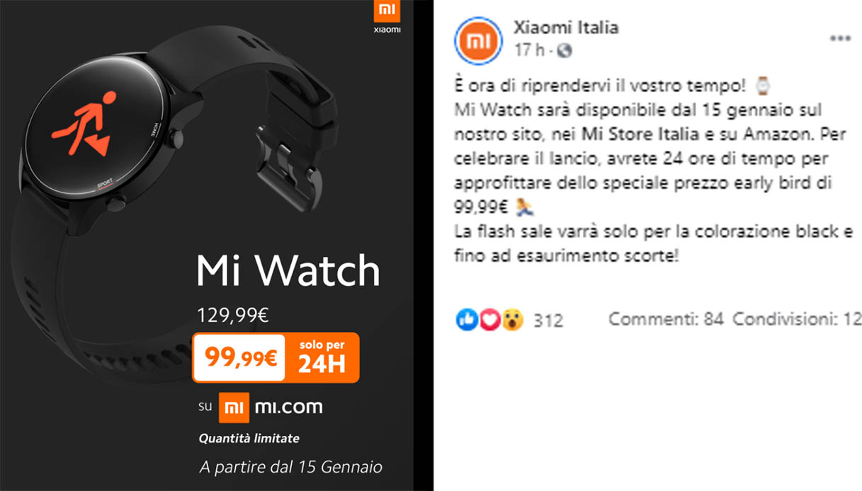 Xiaomi Mi Watch disponibile in Italia: quando arriva e quanto costa
