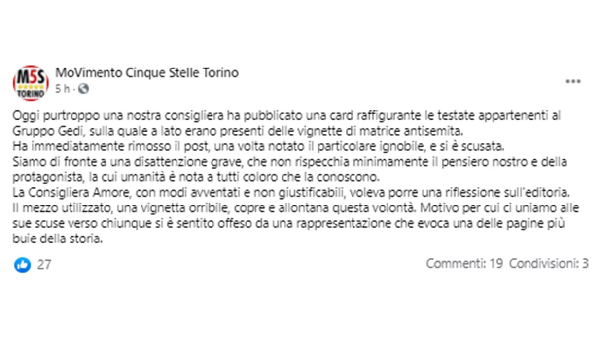 Chi è Monica Amore, la consigliera M5S di Torino del post antisemita