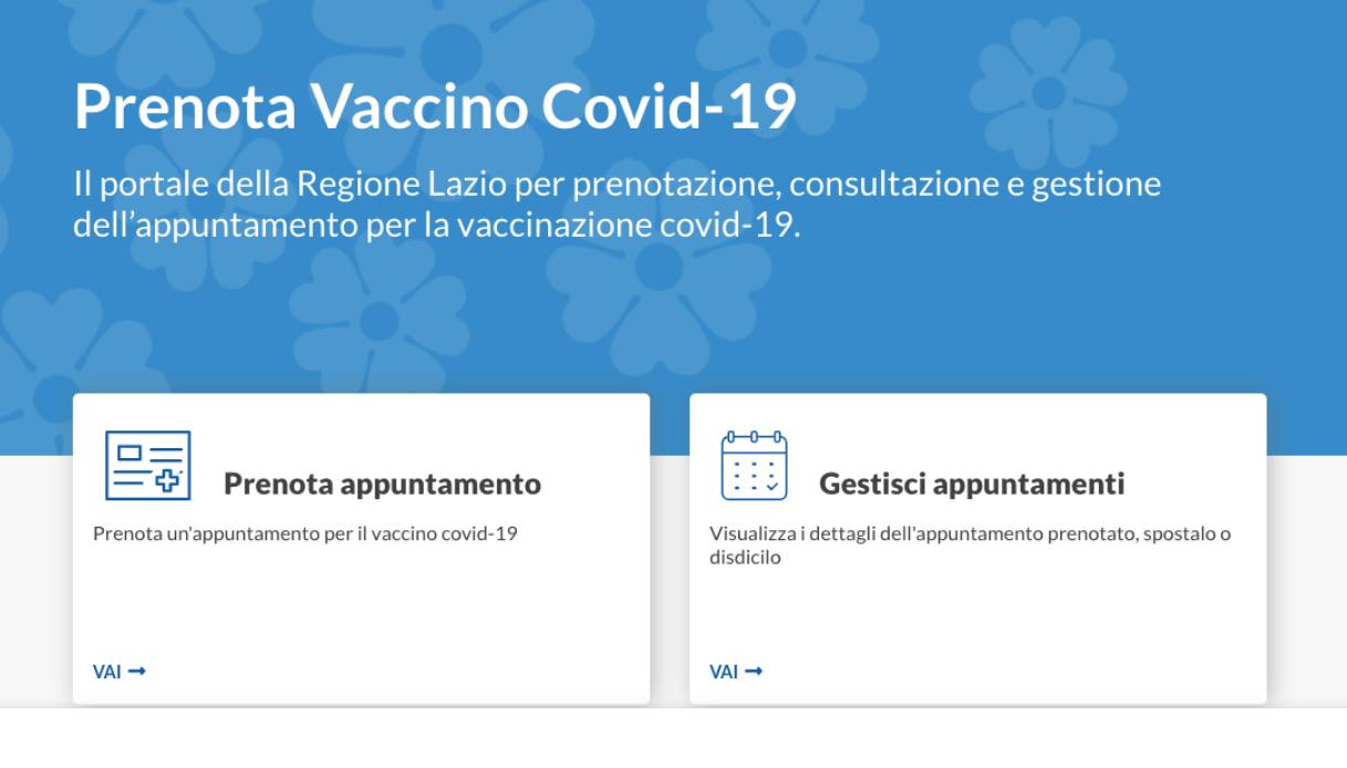 prenotazione vaccino covid lazio