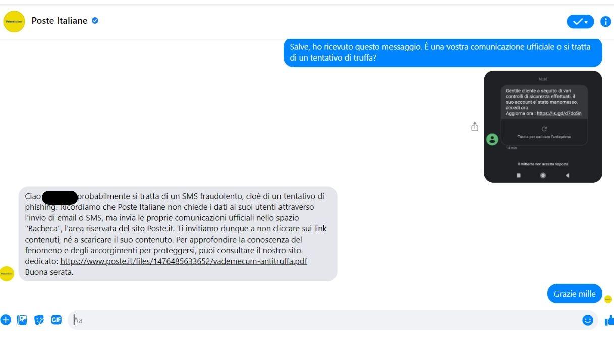 Poste Italiane, segnalazione tentativo di truffa tramite sms